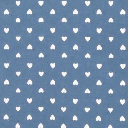 Tissu Coton Coeur d'amour - Bleu jean