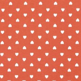 Tissu Coton Coeur d'amour - Rouge brique