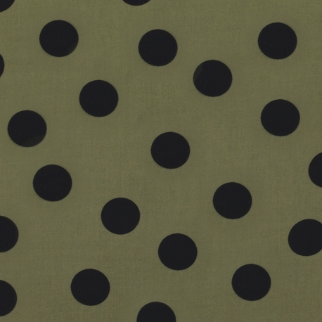 Tissu Viscose à Pois - Vert kaki & Noir