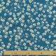 Tissu Coton Enduit Amandier - Bleu