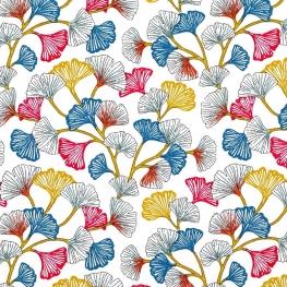 Tissu Coton Enduit Ginkgo - Blanc