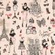 Tissu Coton Cretonne Paris Glamour - Beige