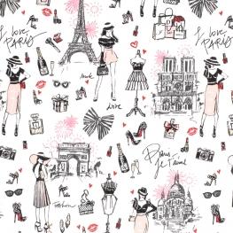 Tissu Coton Cretonne Paris Glamour - Blanc
