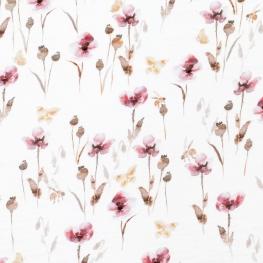 Tissu coton Double Gaze Floral - Blanc cassé