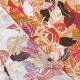 Tissu Rayonne Feuilles exotiques - Beige & Rouge