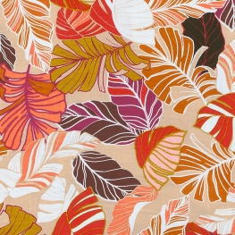 Tissu Rayonne Feuilles exotiques - Beige & Rouge