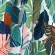 Tissu Rayonne Feuilles exotiques - Ecru & Bleu