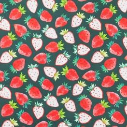 Tissu Percale de Coton Fraises Bicolores - Vert Canard