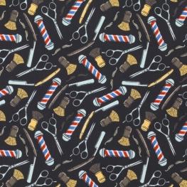 Tissu Percale de Coton Chez le barbier - Noir