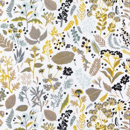 Tissu Popeline Bio fleurs de campagne - Gris