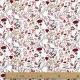 Tissu Popeline Bio fleurs de campagne - Rouge brique