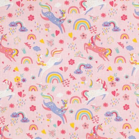 Tissu Coton Cretonne licorne féerique  - Rose