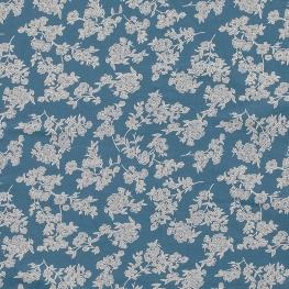 Tissu Popeline Coton Trait de Fleurs - Bleu