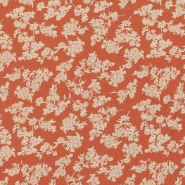 Tissu Popeline Coton Trait de Fleurs - Orange