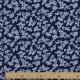 Tissu Popeline Coton Trait de Fleurs - Bleu marine