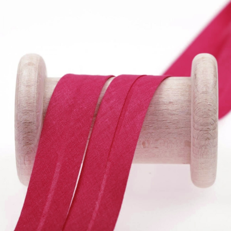 Biais uni 20 mm polycoton rose fushia - La Mercerie de l