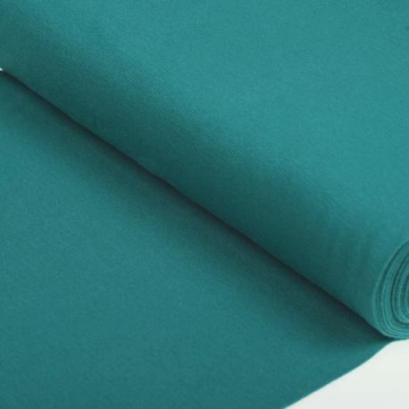 Tissu bord côte tubulaire maille jersey - Bleu carnard