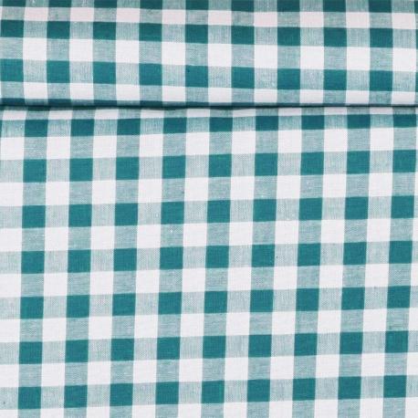 Tissu vichy - Bleu carnard