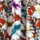 Tissu Viscose Hibiscus & Fleurs - Rouge