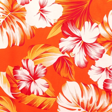 Tissu Viscose Hibiscus - Orange
