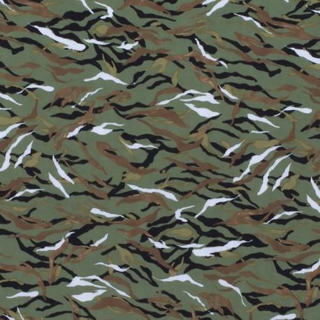 Tissu Viscose Camouflage - Vert