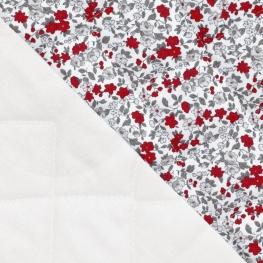 Tissu Matelassé fleurs - Blanc