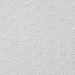Tissu coton Double Gaze Brodé Fleur - Blanc