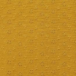 Tissu coton Double Gaze Brodé Fleur - Moutarde