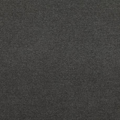 Tissu Jersey Sweat Uni Molletonné - Noir chiné