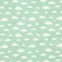 Tissu Popeline Coton Nuage - Vert menthe