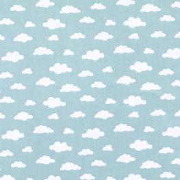 Tissu Popeline Coton Nuage - Bleu ciel