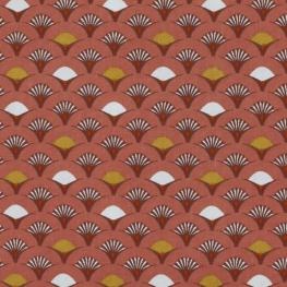 Tissu Popeline Coton Roue de Paon - Rouge brique