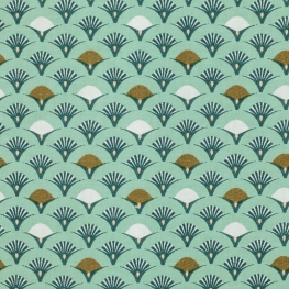 Tissu Popeline Coton Roue de Paon - Bleu ciel