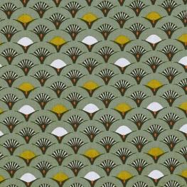 Tissu Popeline Coton Roue de Paon - Vert amande