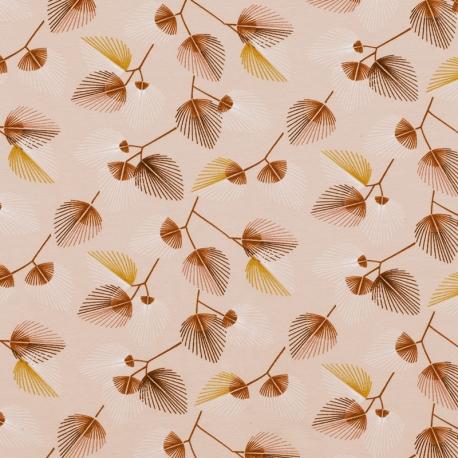 Tissu Jersey Feuille Palmier - Vieux rose