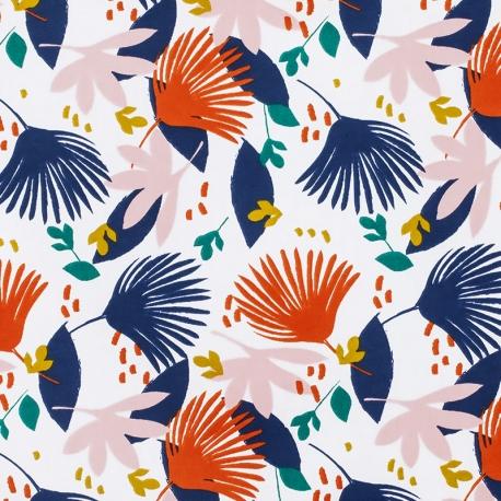 Tissu Coton Enduit Saori - Rouge brique & Bleu