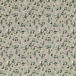 Tissu Popeline Bio Notes de Musique - Gris