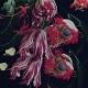 Tissu Viscose Fleur Caravage - Noir