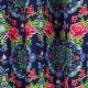 Tissu Popeline Fleurs Psychédélique - Bleu marine