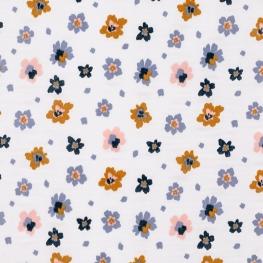 Tissu Coton Double Gaze Bio Fleurs - Blanc