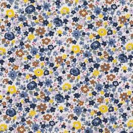 Tissu Popeline Fleurs Suzette - Blanc