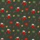 Tissu Popeline Chaussettes et cadeaux de Noël - Vert