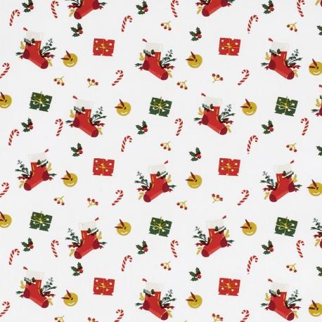 Tissu Popeline Chaussettes et cadeaux de Noël - Blanc