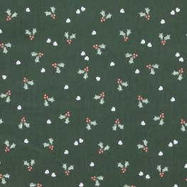 Tissu Popeline Houx et Coeurs - vert