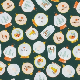 Tissu Popeline Boules à Neige - vert
