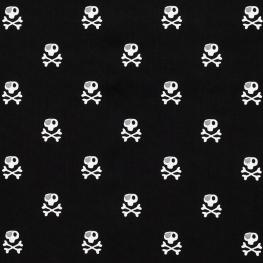 Tissu Popeline Tête de Mort Pirate - Noir