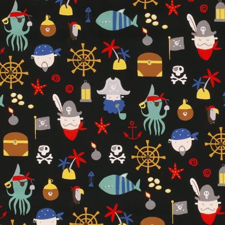 Tissu Popeline Pirates et Océan - Noir