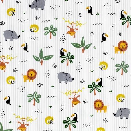 Tissu Popeline Fête dans la Jungle - Blanc