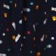 Tissu Popeline Fusées dans l'espace - Bleu marine