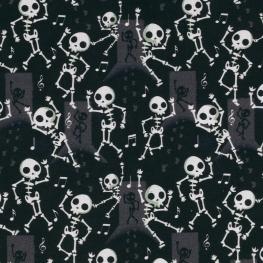 Tissu Popeline Bio Squelette - Noir